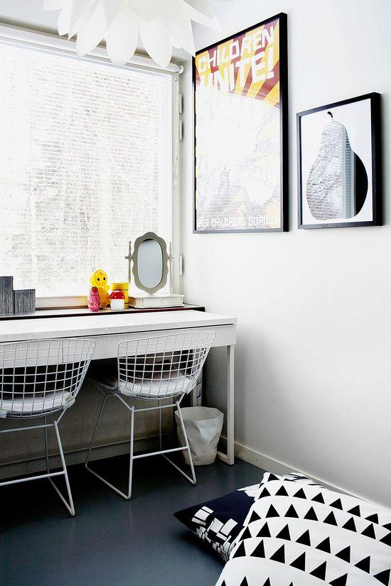 White Bertoia chairs