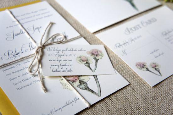 Vintage Inspired Floral Wedding Invitation by DawnCorrespondence #etsy