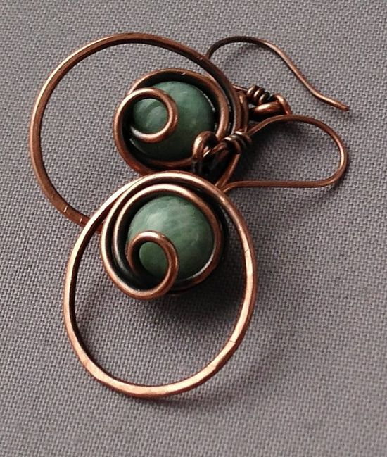 Amazonite  Wire Wrapped in Copper Wire Earrings by mese9 on Etsy, $25.00