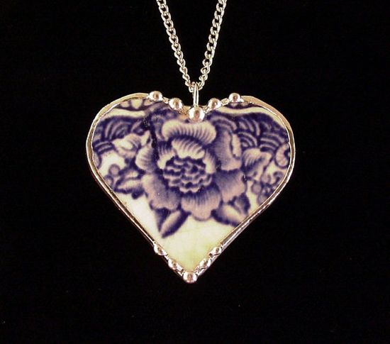 Broken china jewelry heart pendant by Dishfunctional Designs