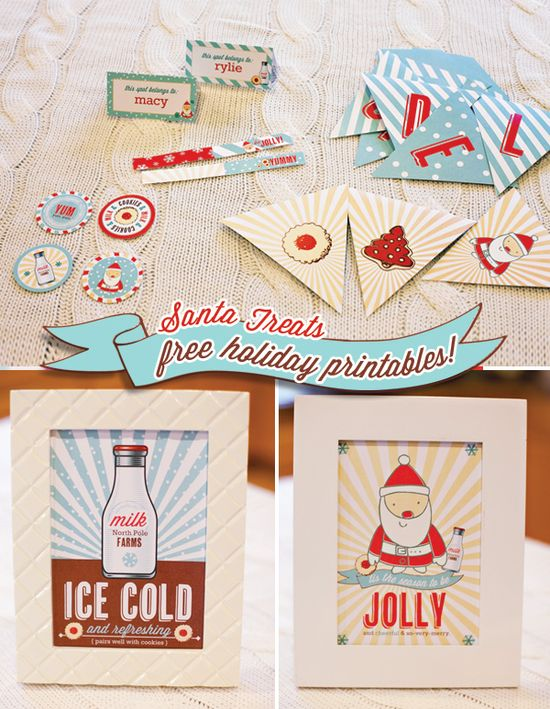 "DIY - Holiday Party Printables - Set includes party flags, party circles (4 designs), 5×7? signs (2 designs), patterned papers (3 designs), a ""DELICIOUS"" garland banner, and blank tent cards (2 designs) - Free PDF Printables"