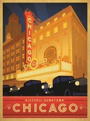 Historic Downtown Chicago vintage travel poster