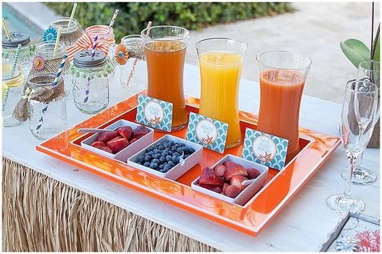 Fruity drinks bar at a Beach baby shower!   See more party ideas at CatchMyParty.com!  #partyideas  #babyshower