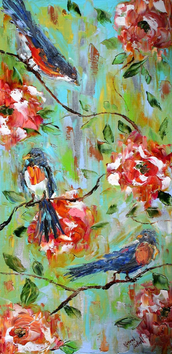 Original Oil Painting Spring Birds Flowers