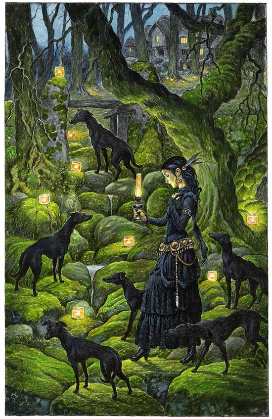 Print. Mariana and the Black Whippets. by davidwyatt on Etsy, £12.00