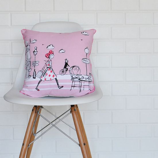 Shopping Girl Decorative Pillows Kids Pillows by LoveJoyCreate, $34.00