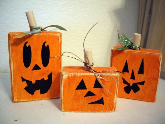 Halloween wood blocks...maybe with painted snack boxes...(ie poptarts, cereal bars...)