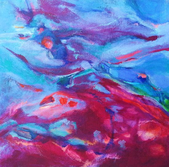 Blue Oxblood Water Abstract, Acrylic on Canvas, Ocean, Underwater Sea Abstract, Beach Decor, Blue Art