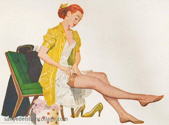 A lovely ad for nylons featuring a pretty redhead, from the early 50s. #nylons #1950s #ad #vintage #fifties #redhead #woman #retro