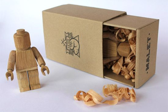 limited edition wood carved lego guys by malet thibaut