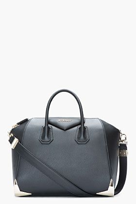 Givenchy Medium Matte Black Leather Metal-corner Duffle Bag for women