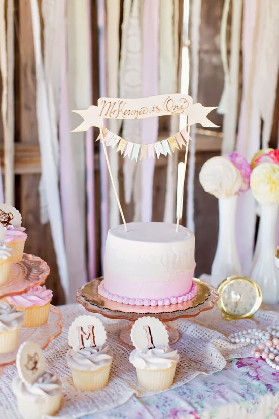 Vintage tea party first birthday party ideas