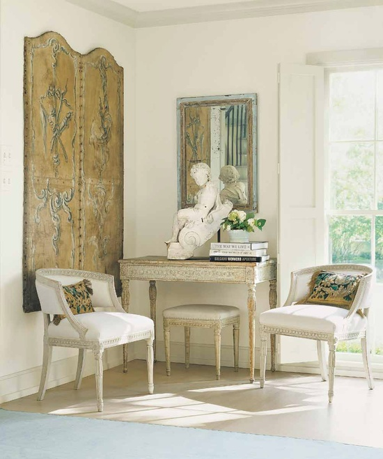 Jane Moore, Houses of Veranda.  Grey on wood, white on walls