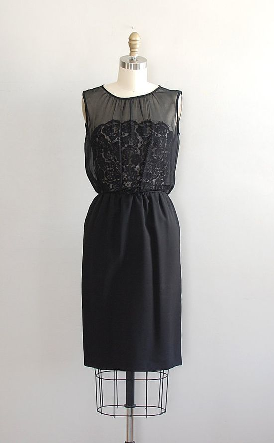 1950's chiffon over lace cocktail dress