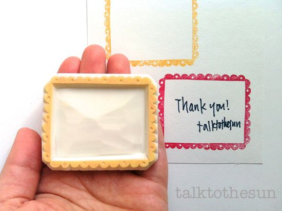 scalloped gift tag rubber stamp  hand carved by talktothesun