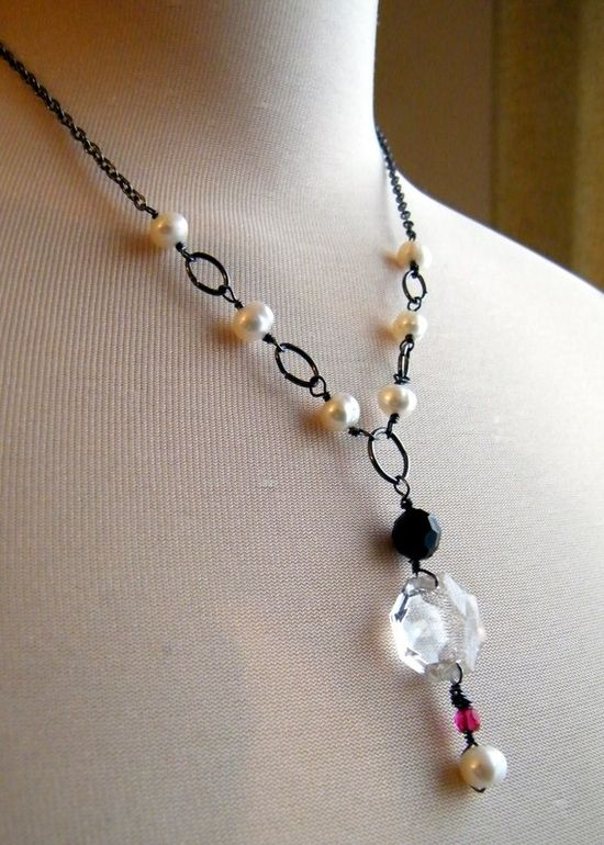 necklace with oval links and wire-wrapped pearls