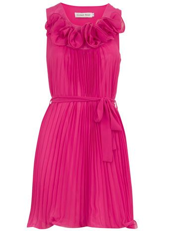 pink pleated party dress.