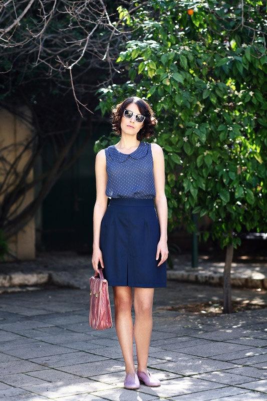 Navy blue Rona skirt ON SALE free shipping by ilovemona on Etsy, $75.00