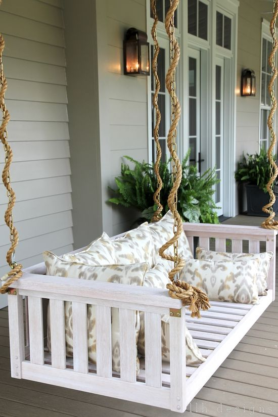 LLH DESIGNS: The 2013 Southern Living Idea House: Rustic Meets Refined // love the rope on the porch swing