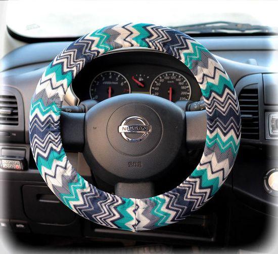 Steering wheel cover for wheel car accessories Zigzag Chevron print