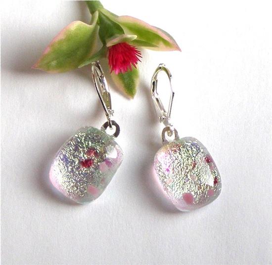 Fused Glass Earrings  Pink Confetti Glass by GreenhouseGlassworks