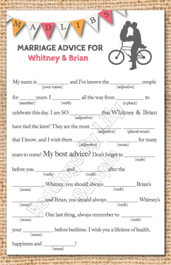 Custom color Mad Libs! A cute and fun idea for your wedding guest book. For Bridal Shower.