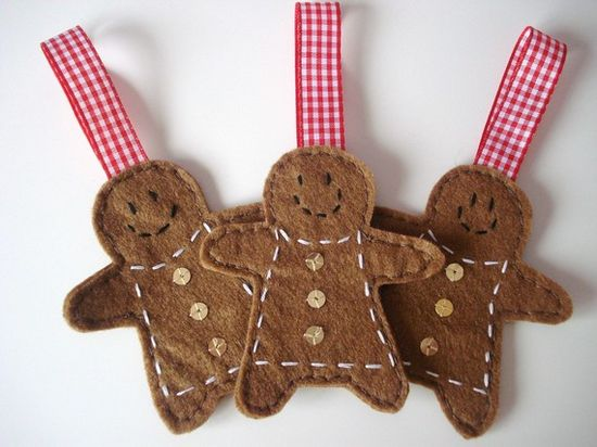 Mrs Gingerbread men Christmas tree decorations