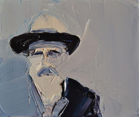 "portrait / Clara Adolphs; Oil, Painting ""Sunday III"" / pin - dog"