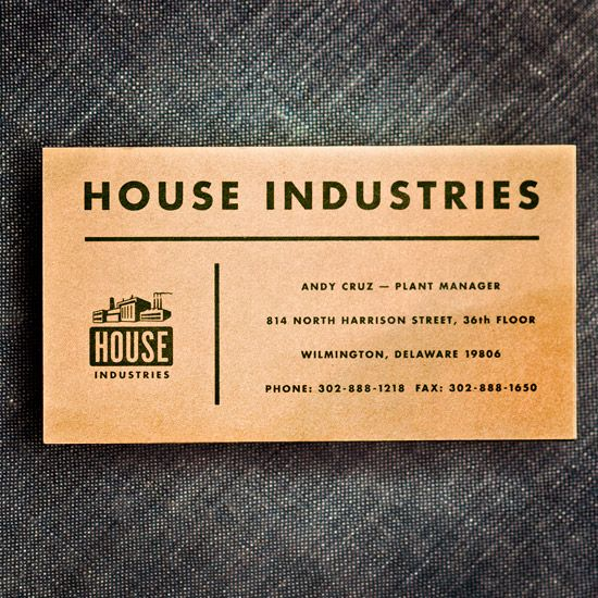 The first House Industries business card. Circa 1994.