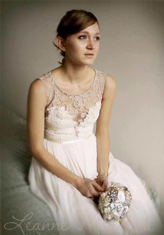Josephine lace and silk chiffon gown  etsy exclusive by Leanimal, $1750.00