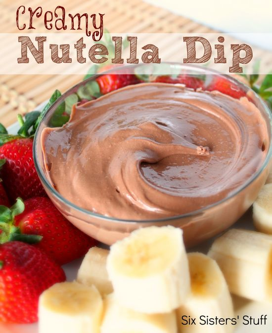 Creamy Nutella Dip from sixsistersstuff.com.  If you think plain Nutella is good, wait until you try this dip! #dip #recipes #dessert #nutella