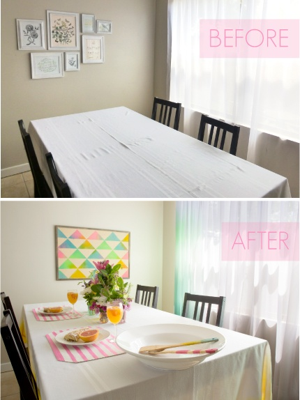 Neon Tumble Dye Home Decor: Kitchen Before & After with Ombre