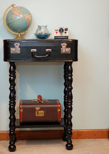 table from vintage suitcase!