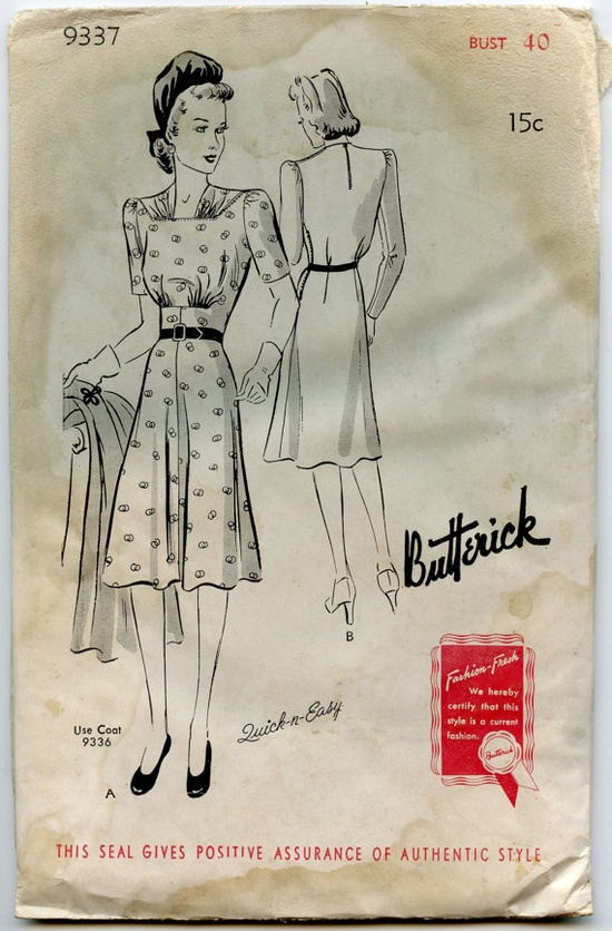 1940s Dress Pattern Butterick 9337 Ladies by GreyDogVintage, $30.00