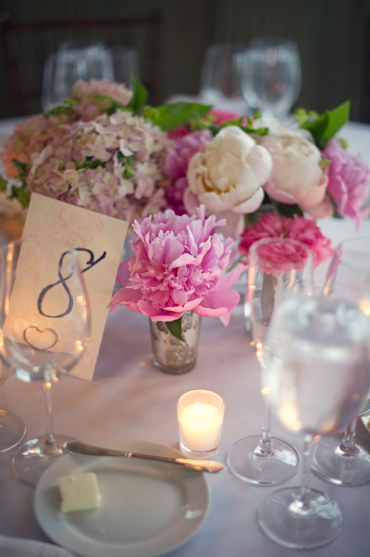 Pretty, pink peonies and hydrangeas
