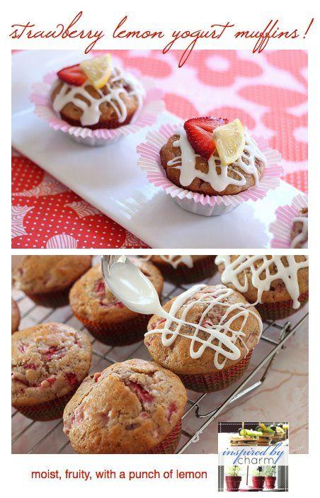 strawberry lemon yogurt muffins