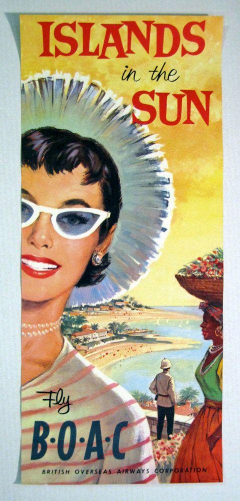 BOAC ISLANDS In The SUN original Poster 50s Rare by PoTrZeBiE, $225.00