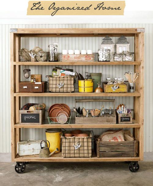 large wooden shelving, very cool.