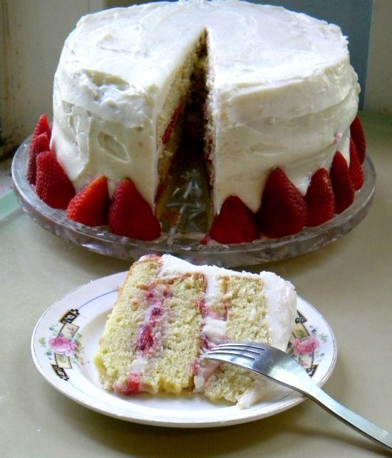 Italian Cream Cake with Strawberries