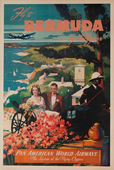 Fly To Bermuda, Pan American World Airways Original Travel Poster