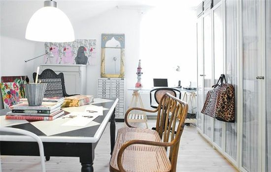 home office, white clean office, chic office