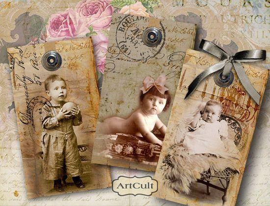 vintage photo tags