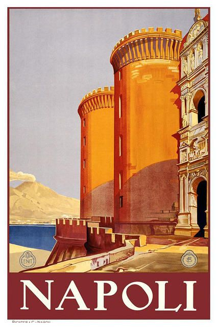 An elegant vintage travel poster for Napoli. #vintage #travel #poster #Italy
