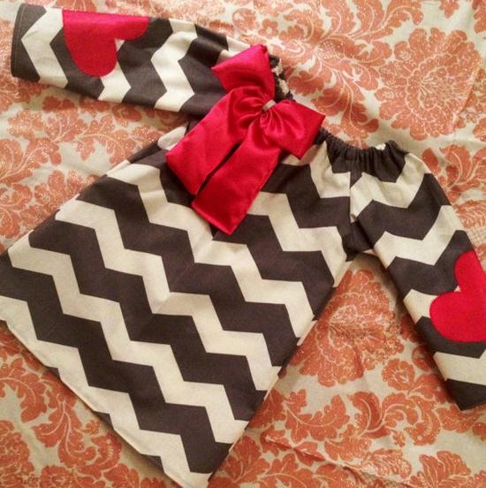 "Valentines ""Heart on my sleeve"" chevron dresses. $27.00, via Etsy."