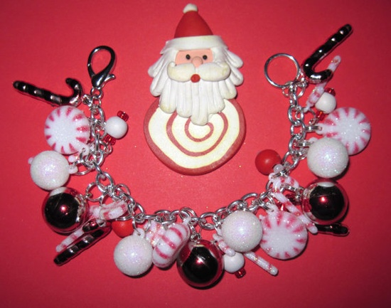 Christmas Candy Cane Lane Charm Bracelet Sweet by Jynxx on Etsy, $30.00