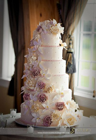 Orchid and Roses Wedding Cake.