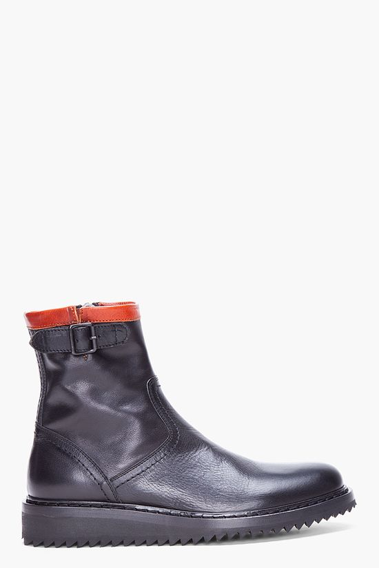 ANN DEMEULEMEESTER Black and Cognac Leather Ankle Boots
