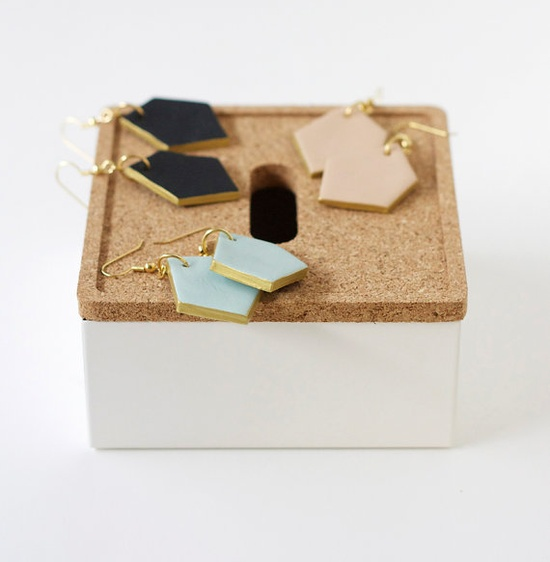 gold edged geo earrings by A Merry Mishap