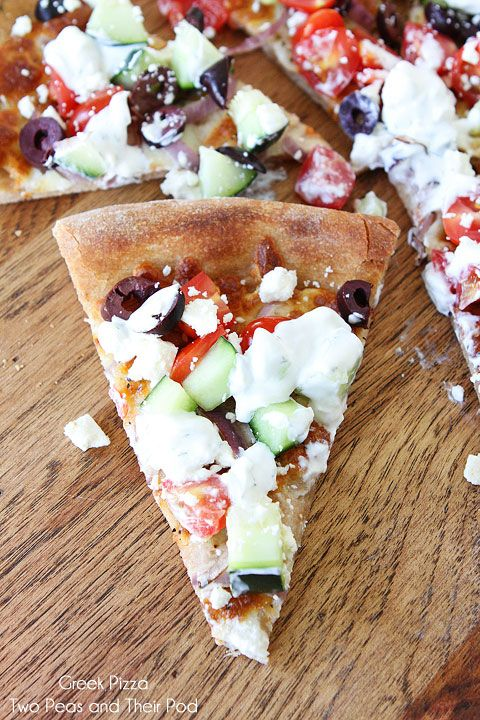 Greek Pizza Recipe on www.twopeasandthe... Fresh, flavorful, and simple!