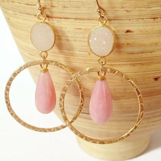 Pink Opal Stone Earrings Druzy Earrings Pink Stone by AinaKai